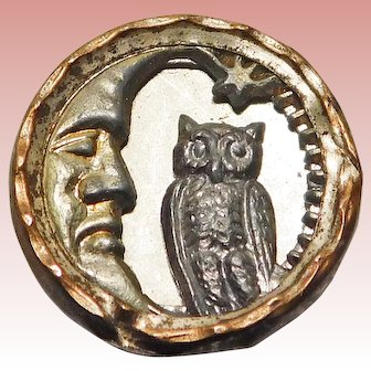 """Antique OWL & MAN IN THE MOON Button - 9/16"""" Picture Story Button"""