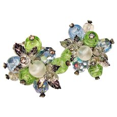Gorgeous Vendome Signed BLUE Aurora Crystal Green Glass Vintage Clip Earrings