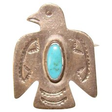 Gorgeous STERLING Turquoise Thunderbird Design Vintage Southwest Design Brooch