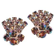 Sparkling AURORA RHINESTONE Vintage Clip Earrings