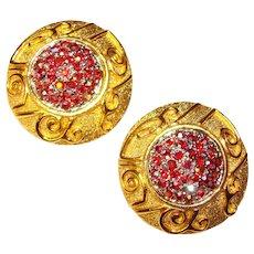 Fabulous RED AURORA Rhinestone Vintage Clip Earrings