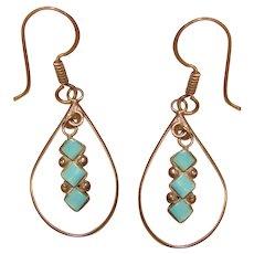 Fabulous STERLING Turquoise Vintage Dangle Earrings