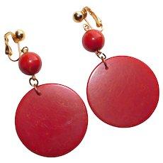 Gorgeous BAKELITE Dangle Vintage Clip Earrings - Rust Red