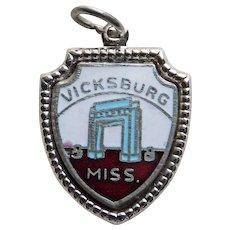 Sterling & Enamel VICKSBURG Vintage Charm - Souvenir of Mississippi