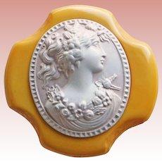 Gorgeous Carved BAKELITE & Celluloid Cameo Design Vintage Brooch - Egg Yolk Amber or Manilla Color