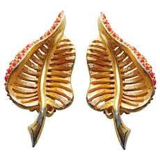 Gorgeous HATTIE CARNEGIE Signed Vintage Leaf Earrings - with Coral Colored Stones