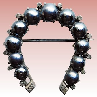 Victorian HORSESHOE Antique Brooch - With Hematite Colored Stones