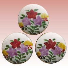 Gorgeous SATSUMA Hand Painted Floral Buttons