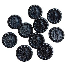 Antique BIRD Black Glass Victorian Buttons - Matching Set of 10