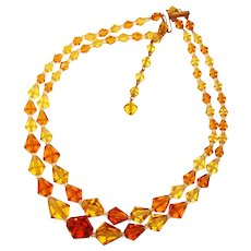 Fabulous SHADES OF AMBER Vintage Two Strand Glass Beads Necklace
