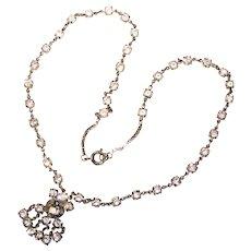 Fabulous Open Back Crystal Stones Vintage Necklace