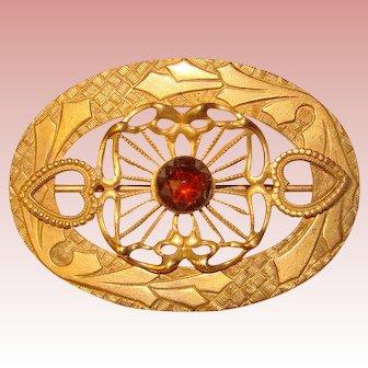 Fabulous Antique Ornate Sash Pin Brooch - Hearts