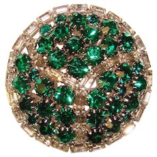 Fabulous HOBE Signed Green & Clear Rhinestone Vintage Brooch