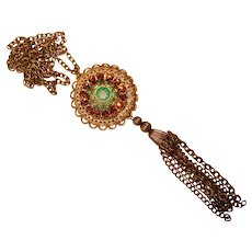 Gorgeous Poured Glass Moroccan Matrix Stone Vintage Rhinestone Pendant Necklace
