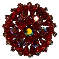 Fabulous RED & RED AURORA Tiered Design Vintage Brooch