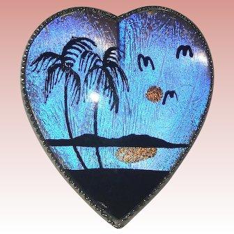 Fabulous BUTTERFLY WING Heart Shaped Vintage Brooch
