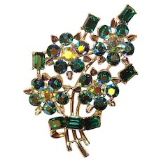 Gorgeous LISNER Signed Blue & Green Aurora Rhinestone Brooch