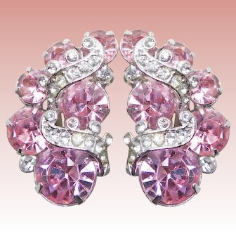 Fabulous EISENBERG Pink Rhinestone Vintage Clip Earrings