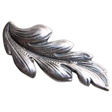 Gorgeous GUGLIELMO CINI STERLING Small Leaf Vintage Brooch - Signed