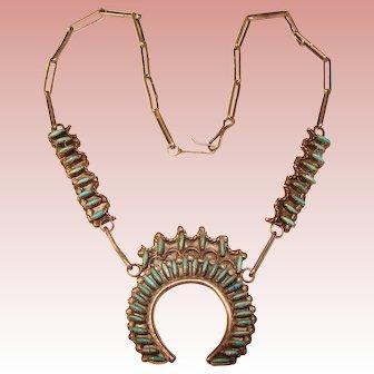 Fabulous STERLING Needlepoint Turquoise Signed Vintage Necklace