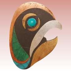 Fabulous TONO Piedra Negra Taxco Parrot Design Vintage Brooch