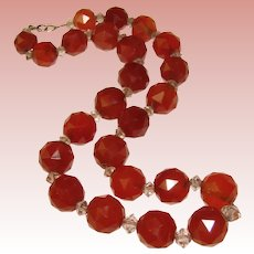 Fabulous ART DECO Carnelian Agate Faceted Beads On Chain Necklace