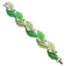 Fabulous LISNER Glowing Green Leaf Rhinestone Bracelet