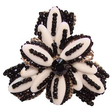 Fabulous MIRIAM HASKELL Black & White Glass Beaded Vintage Brooch