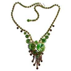 Fabulous D&E JULIANA Green Aurora Vintage Rhinestone Necklace