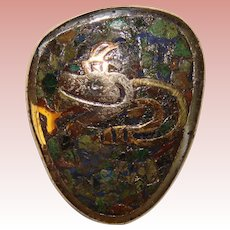 Awesome MEXICAN STERLING & Stone Mosaic Inlay Snake Design Brooch - Taxco Signed