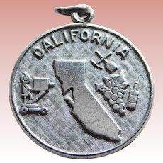Sterling CALIFORNIA Vintage Estate Charm - State Souvenir - Signed Wells