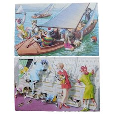 2 Mainzer DRESSED CATS Vintage Estate Postcards - Sail Boat Trip & Card Shop