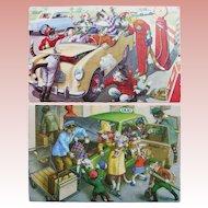 2 Mainzer DRESSED CATS Vintage Estate Postcards - Gas Station & Taxi Ride