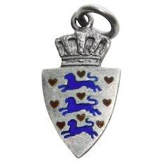 900 Silver & Enamel ENGLAND Royal Arms Vintage Estate Charm - Travel Souvenir of Great Britain United Kingdom
