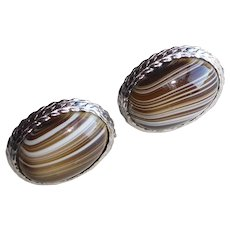 Awesome BANDED GLASS Striped Stones Vintage Cufflinks
