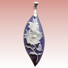 Gorgeous Reverse CARVED LUCITE Vintage Pendant - Muted Purple & Cream Colors