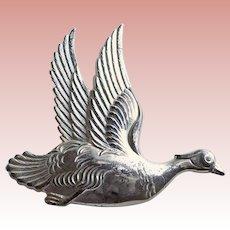 Signed Sterling DUCK Vintage Estate Pin Brooch - Bird in Flight