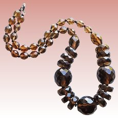 Gorgeous BROWN GLASS Beads Vintage Estate Necklace