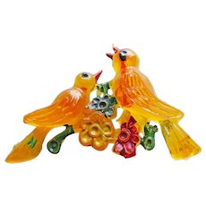 Awesome BIRDS Vintage Hand Painted Plastic Brooch