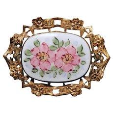 Gorgeous Enamel Pink Flowers Vintage Brooch