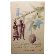 Antique CHRISTMAS TREE Ornaments with Faces Postcard - and Santa & Mrs. Claus