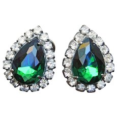 Gorgeous Green & Clear Rhinestone Vintage Clip Earrings