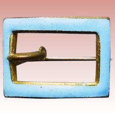 """Tiny Antique Blue Enamel Mini Sash Pin Brooch - 3/4"""" by 9/16"""" For Your Doll"""