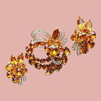 Fabulous EISENBERG ICE Signed Amber Rhinestone Vintage Brooch & Earrings Set