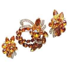Fabulous EISENBERG ICE Signed Amber Rhinestone Vintage Brooch & Earrings Set