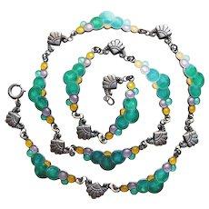 Fabulous ART DECO Sterling & Enamel Bubbles Necklace