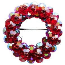 Gorgeous RED MARGARITA CRYSTAL & Red Aurora Vintage Estate Pin Brooch