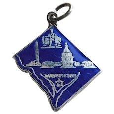 Sterling & Enamel WASHINGTON DC Vintage Estate Charm - State Souvenir