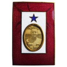 Antique WWI SON IN SERVICE Enamel Sweetheart Picture Frame - With Photograph