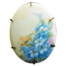 Gorgeous Antique Hand Painted Porcelain Brooch - Forget Me Nots